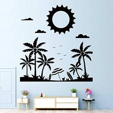 Amazon Com Vodoe Sun Wall Decal Palm Tree Wall Decal Plant Beach Sky Clouds Bird Coconut Tree Grass Leaf Stickers Suitable For Family Living Room Vinyl Art Home Decor Black 24 X 25 5inches Home