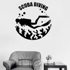 Scuba Diving Vinyl Wall Decal Diver Sea Life Washroom Wall Decor Marine Stickers Mural Top Quality Waterproof Wallpaper Lc253 Wall Stickers Aliexpress