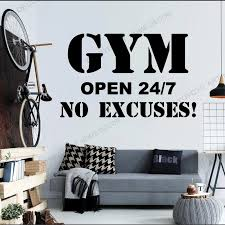 Gym Phrase Open 27 7 Wall Decal Fitness Room Decor Motivation Qoute Vinyl Wall Stickers For Fitness Club Exercise Room Wz15 Wall Stickers Aliexpress