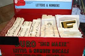 Vintage 1950s Duro Dan Decal Metal Store Display Box Nos Letters Numbers Usa 1721453069