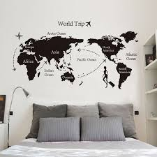 Six Continents World Map To Travel Wall Stickers Home Decor Living Room Bedroom Vinyl Decal Detachable Wallpaper Custom Dt03 Wall Stickers Aliexpress