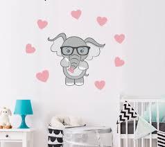 Cute Baby Elephant Wall Sticker Stars Heart Decal Kids Rooms Nursery Bathroom Ebay