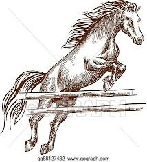 Eps Illustration Wild Horse Horse Jumping High Over Barrier Vector Clipart Gg88127482 Gograph