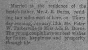 Peter Wesley Turbeville marries Ada Burns - Newspapers.com