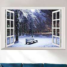 Shop 3d Full Color High Definition Snow Winter Bench False Faux Window Frame Window Mural Wall Vinyl Overstock 17979378