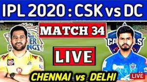 CSK vs DC live Cricket Score - YouTube