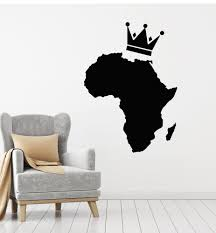 Vinyl Wall Decal Africa Map African Continent Crown Home Decoration St Wallstickers4you