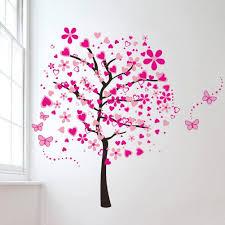 Cartoon Heart Tree Butterfly Wall Decals Removable Wall Decor Sticker Decor Butterfly Wall Decals Nursery Wall Decals