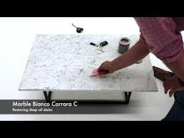 bianco carrara removing deep oil stains