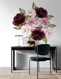 Amazon Com Murwall Peony Floral Wall Decal Red Rose Wall Stickers Pink Peonies Decals Colorful Flower Sticker For Livingroom Bedroom Handmade