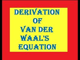 derivation of van der waal s equation