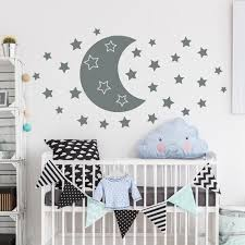 Moon Wall Decal Baby Room Decor Moon And Star Decal Kids Etsy