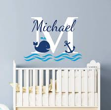 Amazon Com Custom Whale Name Wall Decal Whale Name Wall Decals For Kids Rooms Boys Name Wall Decal Nursery Baby Boy Room Decor Nautical Wall Decals Anchor Wall Decal Vinyl Sticker Decals Vs27