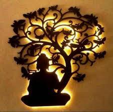 wood lord buddha under tree wall