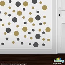 Dark Grey Metallic Gold Polka Dot Circles Wall Decals Polka Dot Circles Decalvenue Com Decal Venue
