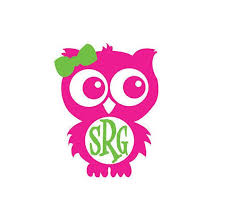 Pink And Green Owl Monogram Vinyl Decal For Yeti Cups Car Etsy In 2020 Monogram Vinyl Decal Silhouette Crafts Yeti Decals