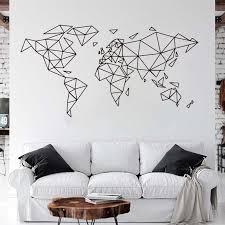 Large Geometric World Map Wall Sticker Office Classroom Geometric World Map Travel Global Earth Wall Decal Bedroom Vinyl Decor Wall Stickers Aliexpress