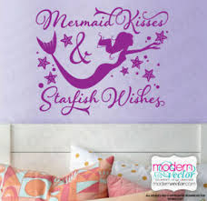 Mermaid Kisses Starfish Wishes Quote Lettering Vinyl Wall Decal Sticker Ebay