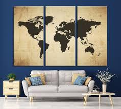 Large Wall Art Dark Gray World Map On Textured Cream Background Canvas Print Mygreatcanvas Com Extra Large Wall Art Wall Art Print Large World Map Canvas Print Gallery