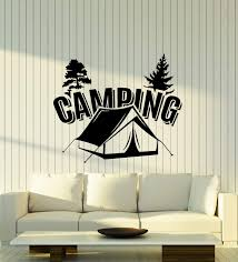 Amazon Com Vinyl Wall Decal Camping Tent Camp Trees Nature Room Art Stickers Mural Large Decor Ig6131 Black Home Kitchen