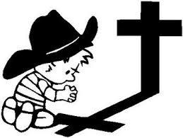 Cowboy Calvin Praying At The Cross Vinyl Decal Sticker