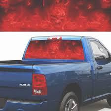 Practlsol Car Decals 1 Pcs Red Flame Skull Decal Rear Window Decal Fochutech