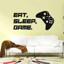 Amazon Com Wewinle Gamer Wall Stickers For Kids Eat Sleep Game Wall Decals For Boys Room Bedroom Living Room Wall Decor Poster Murals Game 004 Kitchen Dining