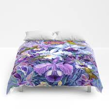 orchids hummingbirds comforters by
