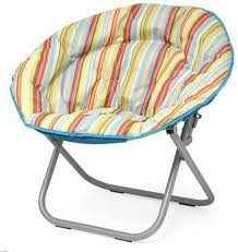 Amazon Com Plush Padded Folding Moon Saucer Chair For Kids And Adults Large Round Multiple Colors Neutral Furniture Decor