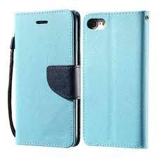 leather textured wallet flip case sky