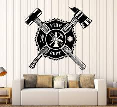 Vinyl Wall Decal Fire Dept Shield Firefighter Stickers Mural Unique Gi Wallstickers4you