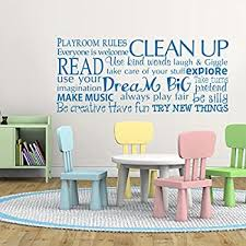 Amazon Com Digtour Wallart Playroom Rules Wall Decal Children Room Decor Kids Playroom Wall Quotes Education Vinyl Wall Stickers X Large White Kitchen Dining