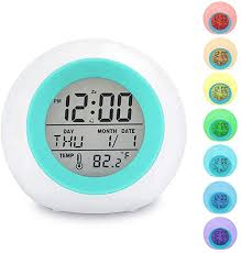 Amazon Com Kids Alarm Clock Led Digital Clock For Boys Girls 7 Color Changing Night Light Clock For Kids Bedroom Bedside Children S Clock With Indoor Temperature Touch Control And Snooze Gift For Kids