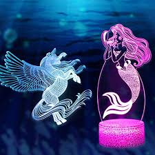 Amazon Com 3d Illusion Unicorn Mermaid Lamp Light16color Change With Remote Control Kids Room Decor Lighting As Birthday Gift For Girls Baby Kids 2pcs Home Improvement
