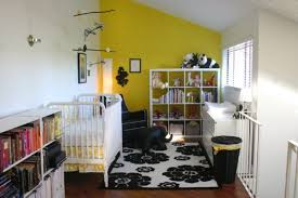 black and white rugs in a kids room