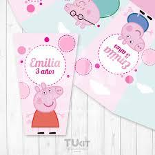 Caja Pochoclera Personalizada Imprimible Peppa Pig Cumpleanos Tukit