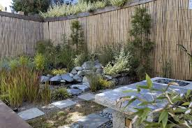 Corner Lot Fence Ideas With Asian Landscape Also Asian Bamboo Bamboo Fencing Japanese Minimal Natural Paver Pond River Rock Rock San Francisco Step Stone Water Feature Finefurnished Com