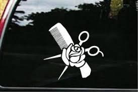 Hair Stylist Decals Comb And Rose Car Sticker Custom Sticker Shop