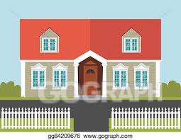 Vector Stock House With A Red Roof And White Fence Clipart Illustration Gg84209676 Gograph
