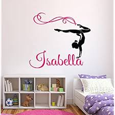 Amazon Com Custom Gymnastics Name Wall Decals Girls Kids Room Decor Nursery Wall Decals Wall Decor For Teen Girls 24wx22h Baby