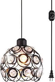 plug in crystal pendant light black