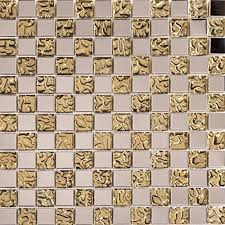 patterned gold glass mosaic tile