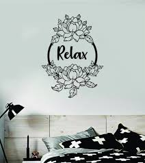 Relax Lotus Flowers Quote Wall Decal Sticker Vinyl Art Decor Bedroom N Boop Decals