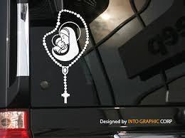 Catholic Rosary Beads Mother Mary Baby Jesus Vinyl Car Decal Sticker 7 H Ebay