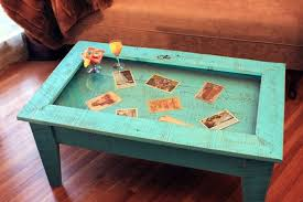 tempered glass display table rustic