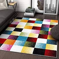 Amazon Com Well Woven Exuberance Multicolor Checkered Boxes Geometric 5x7 5 3 X 7 3 Area Rug Kitchen Dining Well Woven Area Rugs Pink Area Rug