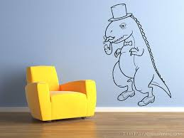 Amazon Com Fancy Dinosaur With Mustache Bubble Pipe And Top Hat Vinyl 30 Inch Wall Decal Home Decor Kids Bedroom Children Nursery Daycare Trex Dino Lizard Reptile Bubbles Gentlemen Smoking Smoke Home