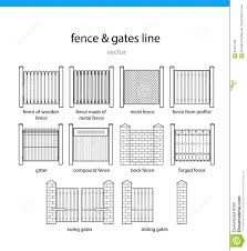 Set Fence And Gates Vectors Lines Stock Vector Illustration Of Kinds Graphics 94301108