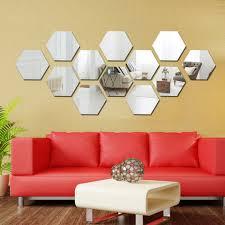 12pcs 80mm 46mm Gold Silver 3d Mirror Geometric Hexagon Acrylic Wall Sticker Bedroom Living Room Stickers Decor Gift Acrylic Wall Sticker Wall Sticker3d Mirror Aliexpress