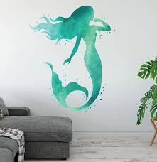 Amazon Com West Mountain Mermaid Wall Decal Ocean Mermaid Wall Art Aqua Watercolors Bathroom Wall Decal Beach House Vinyl Wall Sticker Lb18 44 H X 32 W Home Kitchen
